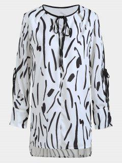 Split Sleeve Printed High Low Blouse - White And Black L