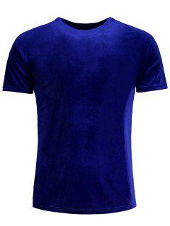 Short Sleeve Velvet Top - Blue M