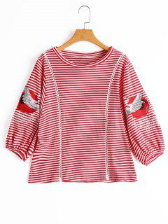 Crane Patched Puff Sleeve Striped Blouse - Red S