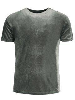 Short Sleeve Velvet Top - Gray M