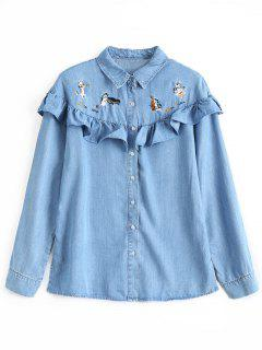 Ruffles Cat Embroidered Denim Shirt - Denim Blue S