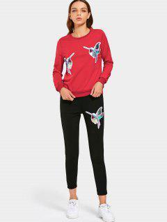 Sequined Bird Sudadera Y Conjunto De Pantalones - Rojo M