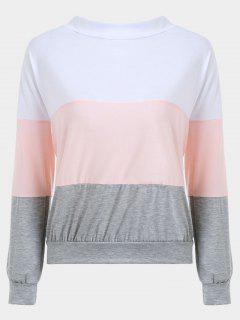 Color Block Tied V Back Sweatshirt - Pink S