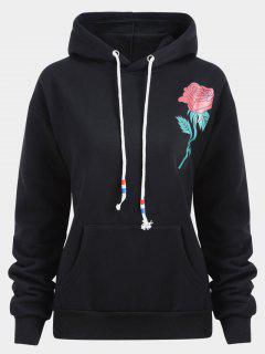 Kangaroo Pocket Rose Print Hoodie - Black