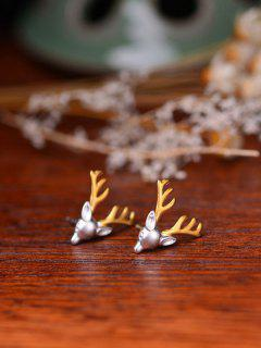 Christmas Reindeer Tiny Stud Earrings - Silver