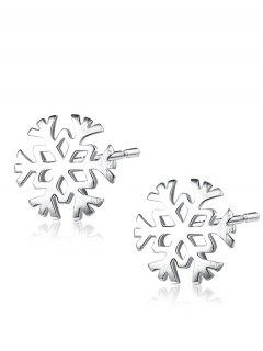 Christmas Sterling Silver Snowflake Stud Earrings - Silver