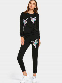 Sequined Bird Sweatshirt And Pants Set - Black M