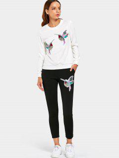 Sequined Bird Sweatshirt And Pants Set - White 3xl