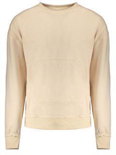 Kangaroo Pocket Crew Neck Sweatshirt - Apricot L
