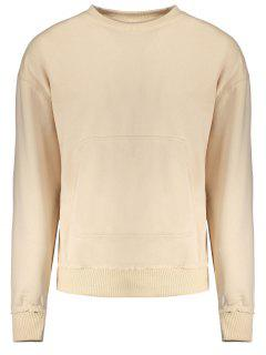 Kangaroo Pocket Crew Neck Sweatshirt - Apricot S