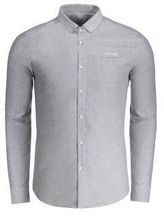 Flirtender Grafikknopf Unten Hemd - Grau 2xl