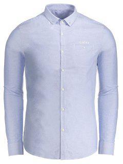 Flirting Graphic Button Down Shirt - Bleu Xl
