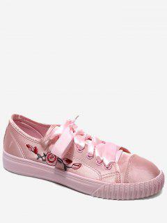 Zapatos Del Patín Floral De La Cinta Del Bordado - Papaya 36