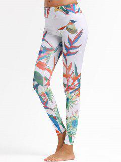 Plant Print Sports Leggings - White M