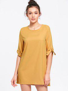 Vestido De Manga Corta - Amarillo Yema Xl