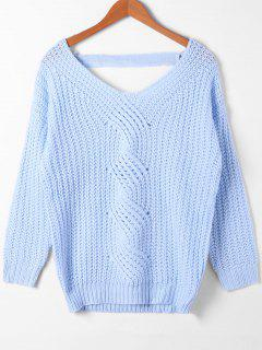 Cut Out Cable Knit Sweater - Azure M