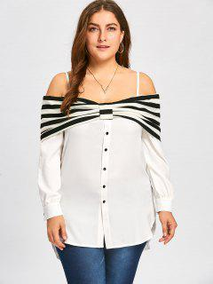 Plus Size Foldover Dolphin Blouse - Off-white 3xl