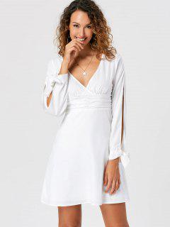 Tie Cuff Slit Sleeve Skater Dress - White M