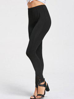 Lace Hem Skinny Pants - Black M