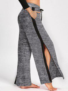 Side Slit Zip Up Wide Leg Pants - Gray Xl
