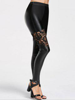 Lace Insert Faux Leather Skinny Pants - Black M