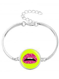 Lips Halloween Round Bangle Bracelet - Silver
