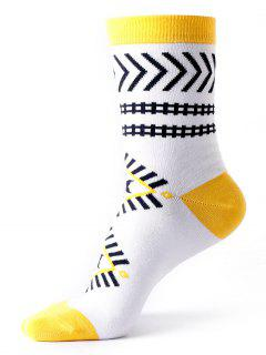 Ankle Socks With Halloween Geometric Pattern - White