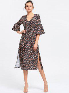 Button Up Slit Blumen Midi Kleid - Blumen S