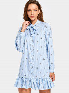Ruffle Hem Kaninchen Gestreiftes Fliege Kleid - Hellblau S