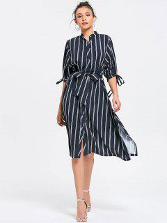 Slit Belted Stripes Shirt Dress - Stripe L