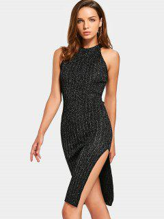Sleeveless Sequined Side Slit Fitted Dress - Black