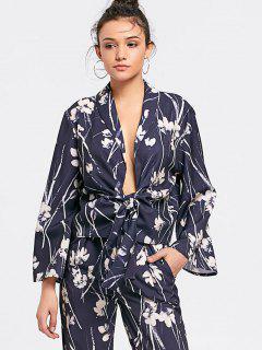 Chemisier Et Pantalon Floral En Kimono à Col Plongeant Et Noué  - Floral M