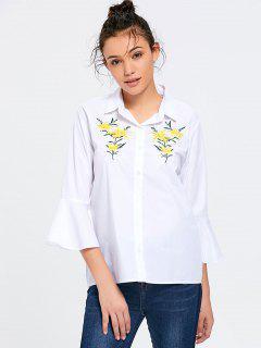 Chemise Brodée à Fleurs - Blanc S