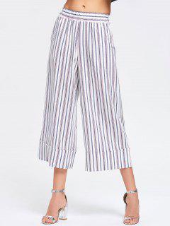 Pantalones De Pierna Ancha Rayada Casual De Alta Cintura - Raya M