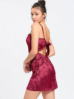 Bowknot Crushed Velvet Cut Out Bodycon Dress - Wine Red S