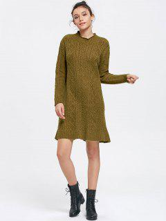 Long Sleeve Cable Knit Sweater Mini Dress - Army Green