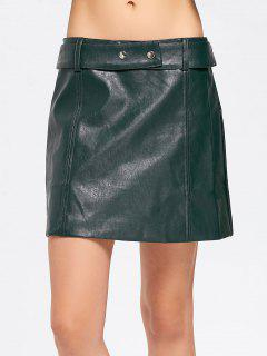 Belted Faux Leather A Line Mini Skirt - Blackish Green M