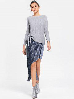 Asymmetrical Velvet Pleated Skirt - Gray Xl