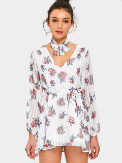 Floral Print Belted Choker Dress - Floral Xl