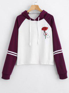 Floral Patched Drawstring Raglan Sleeve Hoodie - Deep Purple S