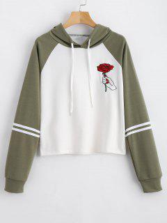 Floral Patched Drawstring Raglan Sleeve Hoodie - Army Green S