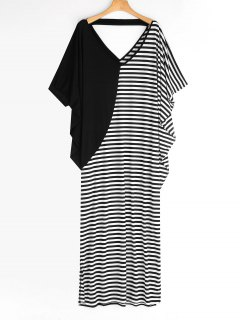 Casual Batwing Stripes Panel Maxi Dress - Stripe S