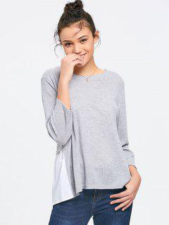 Baggy Knitted Panel Bluse - Grau S