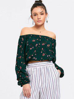 Floral Cropped Off Shoulder Blouse - Green L