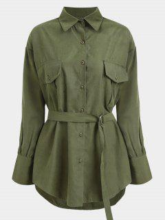 Belted Longline Shirt - Army Green