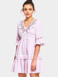 V Neck Floral Patched Striped Mini Dress - Pink M