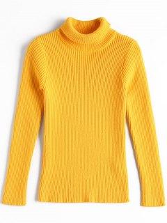 Turtleneck Tight Slim Sweater - Yellow