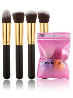 4 Pcs Makeup Brushes Set With Sponges Puff - Multi