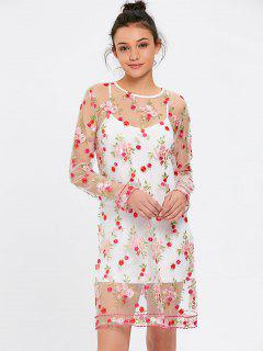 See Thru Floral Embroidered Dress With Cami Dress - White S
