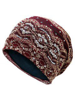 Striped Sequin Embellished Beanie Hat - Wine Red